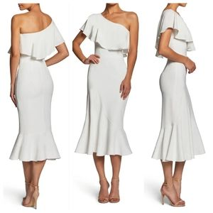 DRESS THE POPULATION Raquel White Ruffle Dress